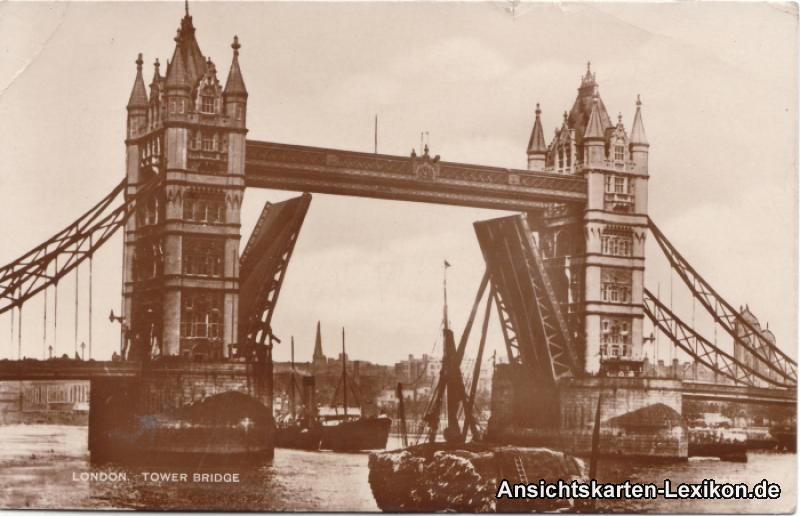 historische Ansichtskarte von 1928: Tower Bridge:: London