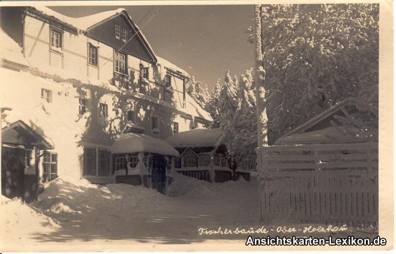 vintage Postcard from 1940: Fischerbaude im Winter::