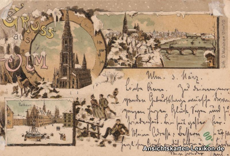 vintage Postcard from 1898: Winter - Litho AK::