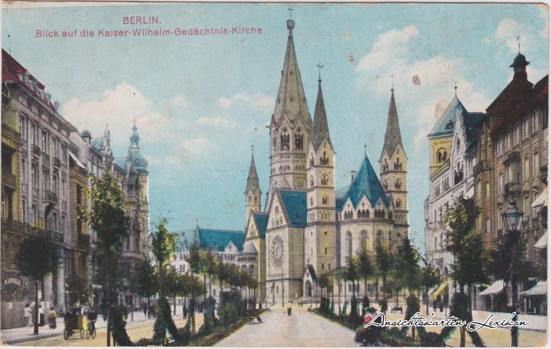Eglise Kaiser-Wilhelm-Gedächtniskirche à Berlin en 1918.