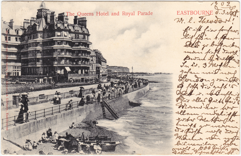 historische Ansichtskarte von 1902: The Queens Hotel and Royal Parade:: Eastbourne