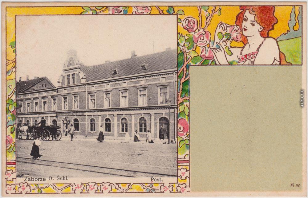historische Ansichtskarte von 1906: Jugendstilkünstlerkarte: Straße und Post:: Zaborze-Hindenburg