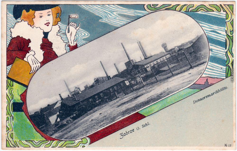 historische Ansichtskarte von 1906: Künstlerkarte: Jugenstil Donnersmarckhütte:: Hindenburg
