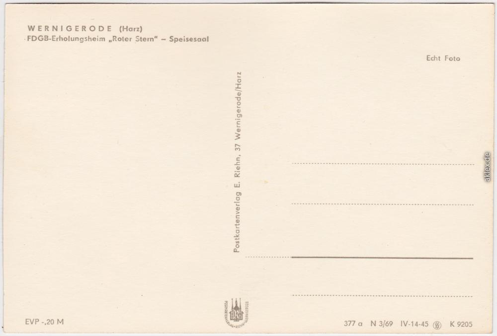 """fotokarte wernigerode fdgb-erholungsheim """"roter stern, Esstisch ideennn"""