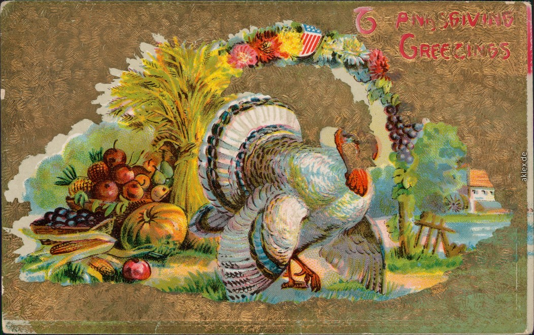 vintage Postcard from 1908: Thanksgiving Greetings: Truthan Goldrand::