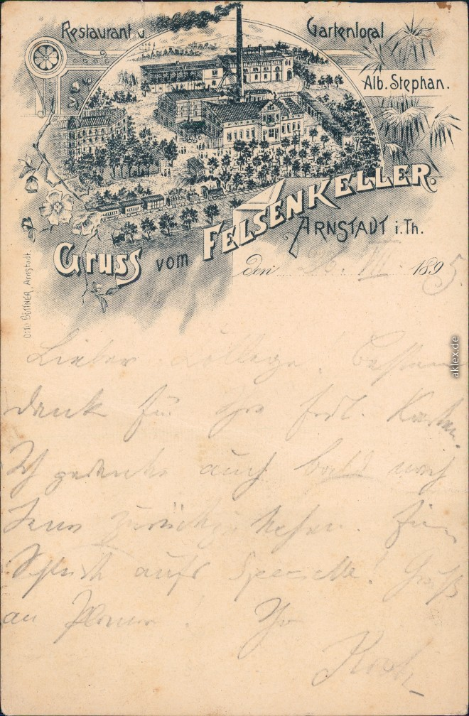 historische Ansichtskarte von 1895: Gruss vom Felsenkeller - Vorläufer AK:: Arnstadt
