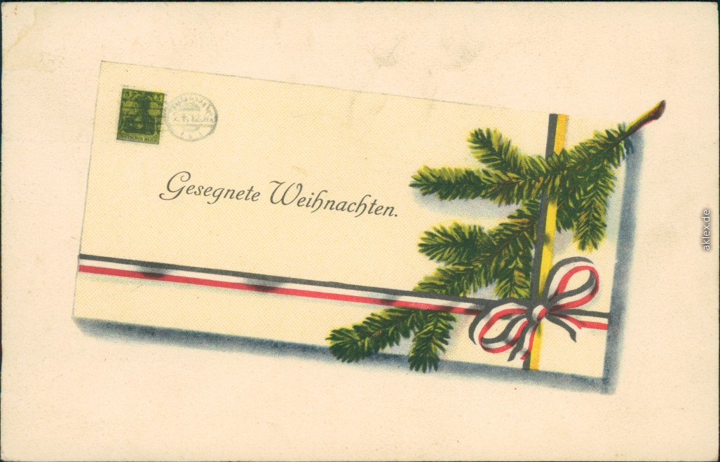 vintage Postcard from 1917: Weihnachten - Brief, Tannenzweig - Patriotika::
