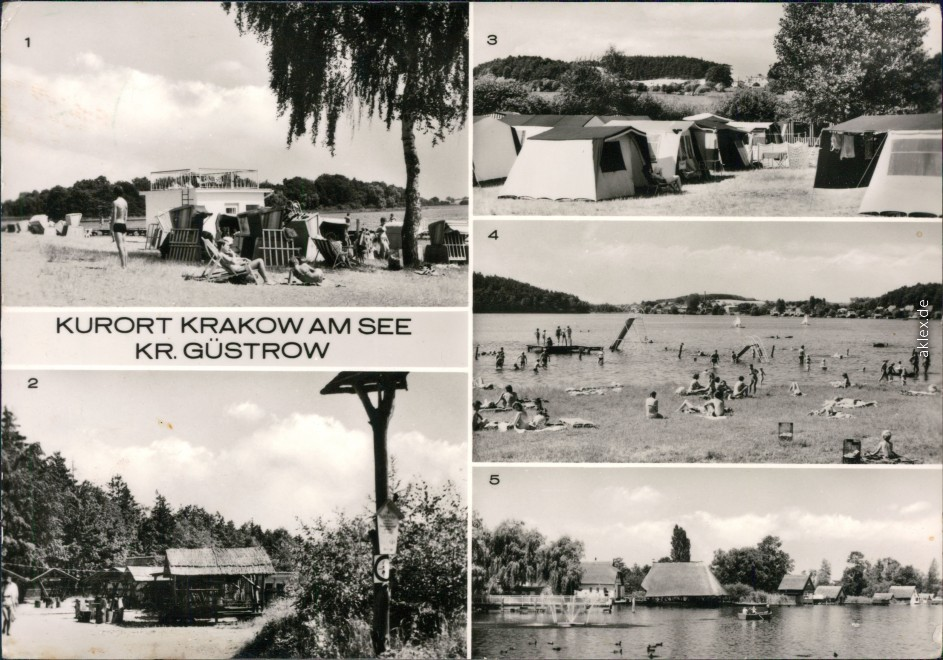 vintage Postcard from 1968: Am See -Campingplatz, Restauration und Strand:: Krakow(am See)