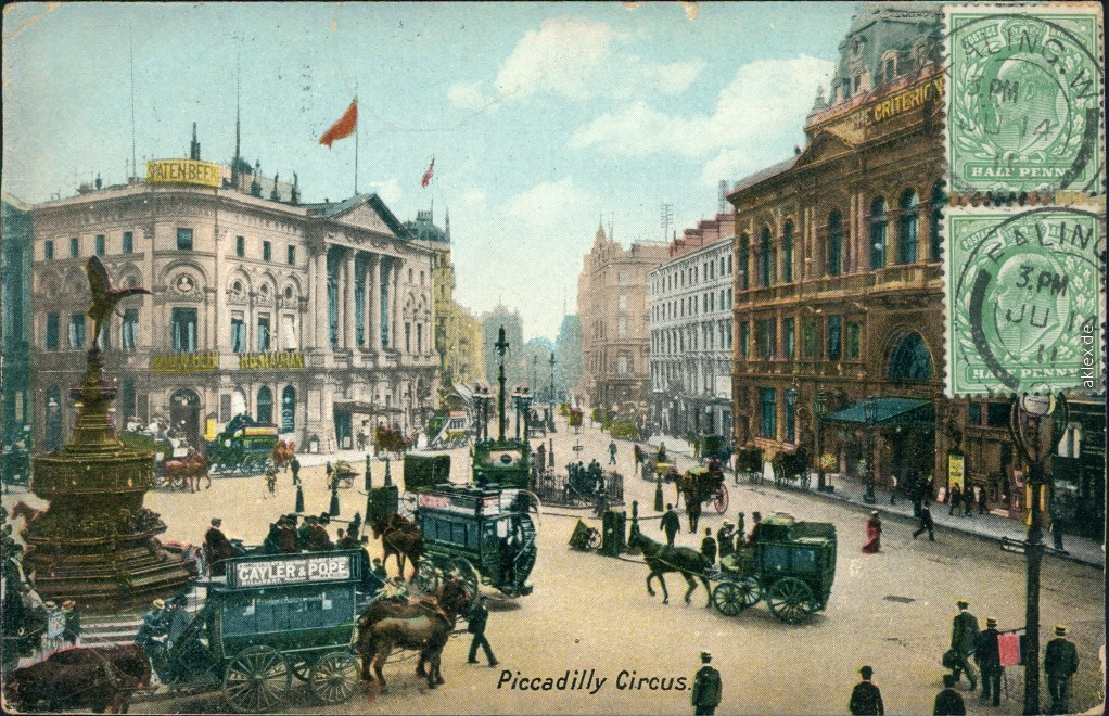 vintage Postcard from 1913: Piccadilly Circus - belebt Kutschen:: London
