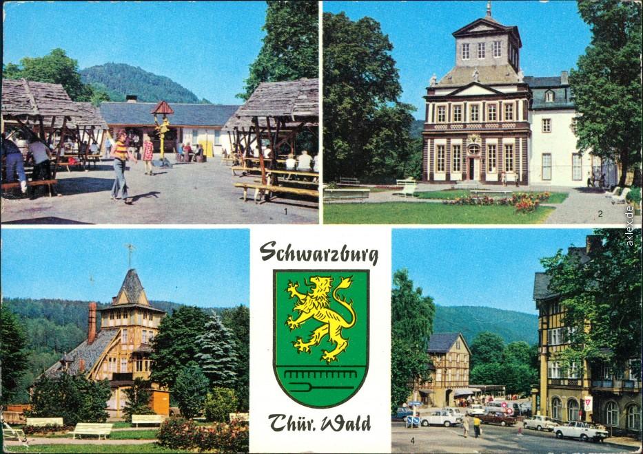 historische Ansichtskarte von 1984: Schloßschenke,  Schloß Schwarzburg, Max-Reimann-Platz:: Schwarzburg