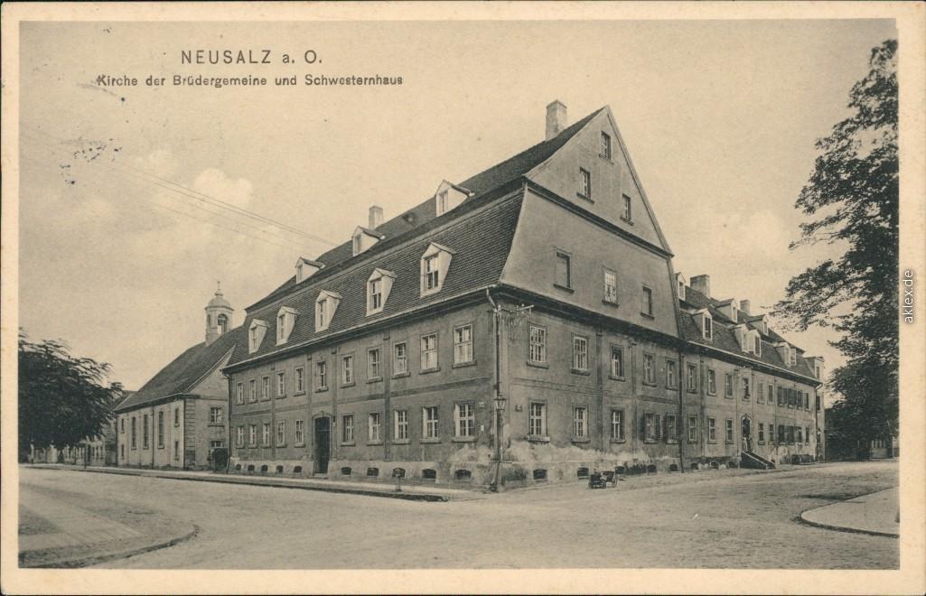 historische Ansichtskarte von 1911: Straßenpartie an der Brüdergemeinde und Schwesternhaus:: Neusalz