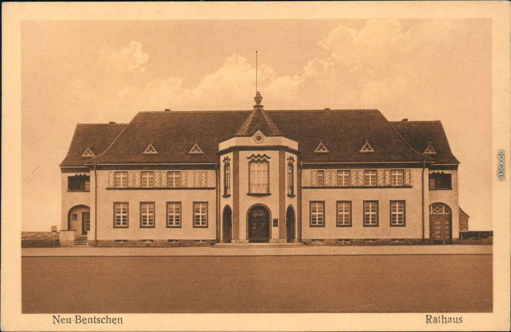 vintage Postcard from 1918: Partie am Rathaus:: Zbąszynek