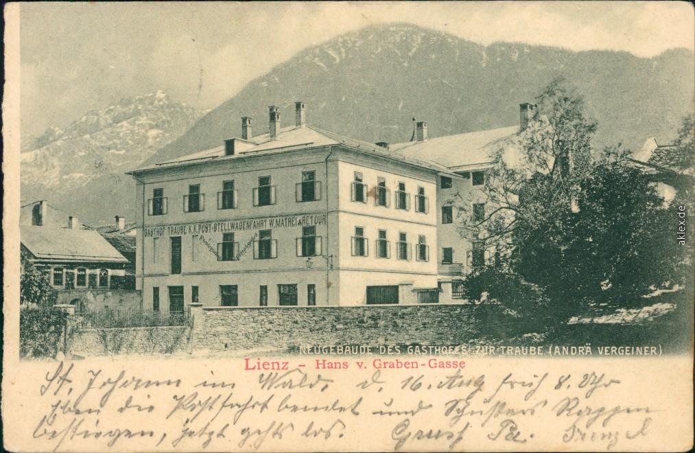 historische Ansichtskarte von 1904: Gasthaus , Hans von Graben-Gasse:: Lienz