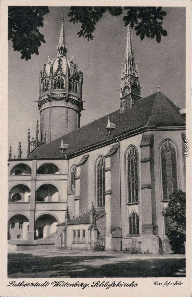 historische Ansichtskarte von 1953: Evangelische Schloßkirche:: Lutherstadt Wittenberg