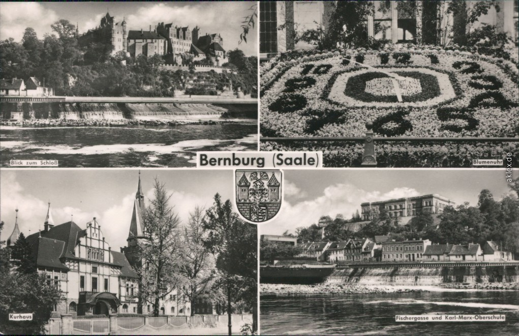 historische Ansichtskarte von 1966: Schloß, Blumenuhr, Kurhaus, Fischergasse und Oberschule:: Bernburg (Saale)