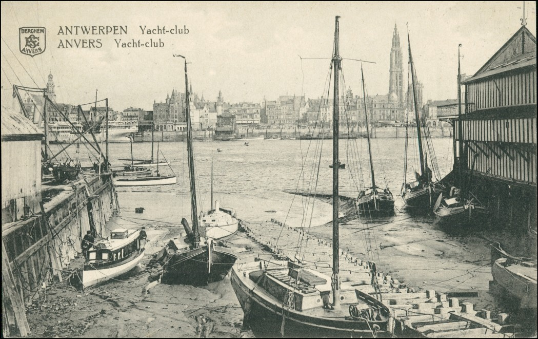 vintage Postcard from 1913: Yachtclub:: Antwerp