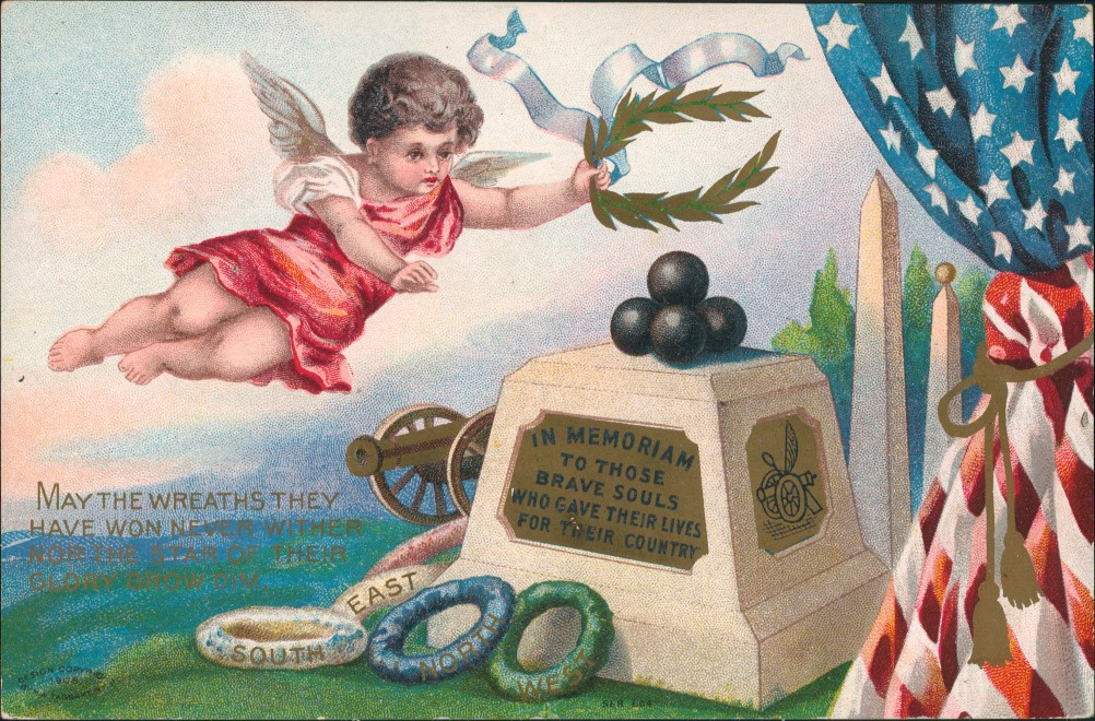vintage Postcard from 1910: Patriotika USA In Memorian To Those Brave Souls:: United States of America